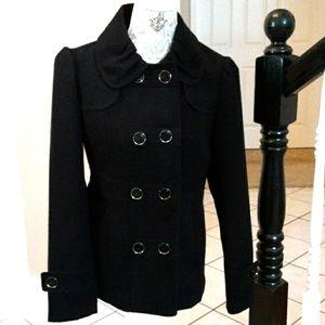 Hydraulic Black Pea Coat, Size Medium